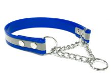Mystique® Biothane obojek polostahovací 25mm reflex modrá gold 40-50cm