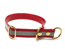 Mystique® Biothane obojek stahovací s dorazem 25mm reflex červená gold 50cm bronz