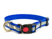 Mystique® Biothane obojek safety click 25mm reflex modrá gold 30-40cm bronz