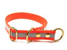 Mystique® Biothane obojek stahovací s dorazem 25mm reflex oranžová gold 50cm bronz
