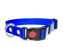 Mystique® Biothane obojek safety click 19mm modrá gold 40-50cm