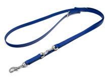 Mystique® Biothane nastaviteľné vodítko 16mm modrá 200cm nerezavějíci karabina šité