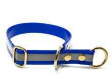 Mystique® Biothane obojek stahovací s dorazem 25mm reflex modrá gold 50cm bronz